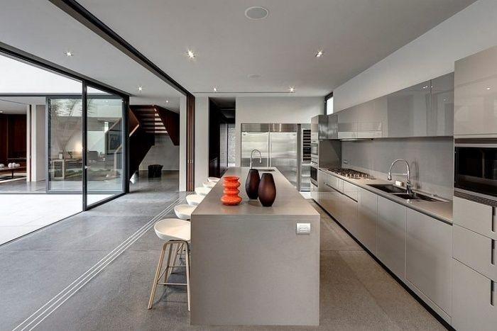 zeitgenössische Küche in Grau-Nuancen-offenes Raumkonzept mit ...