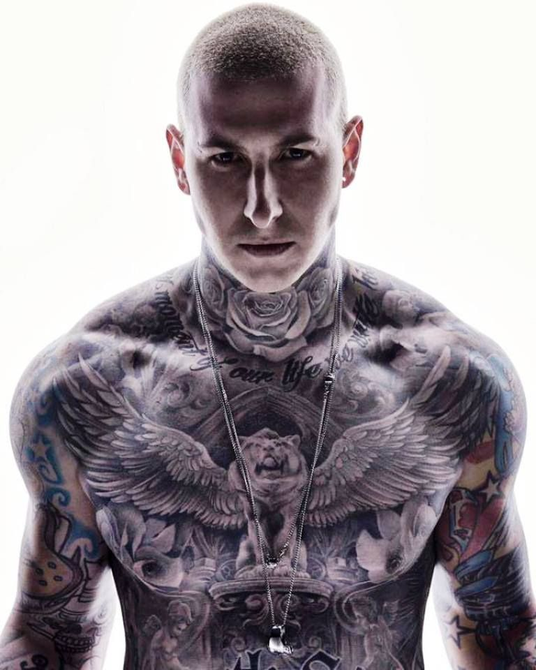 Full Chest, Neck And Total Sleeve Tattoos