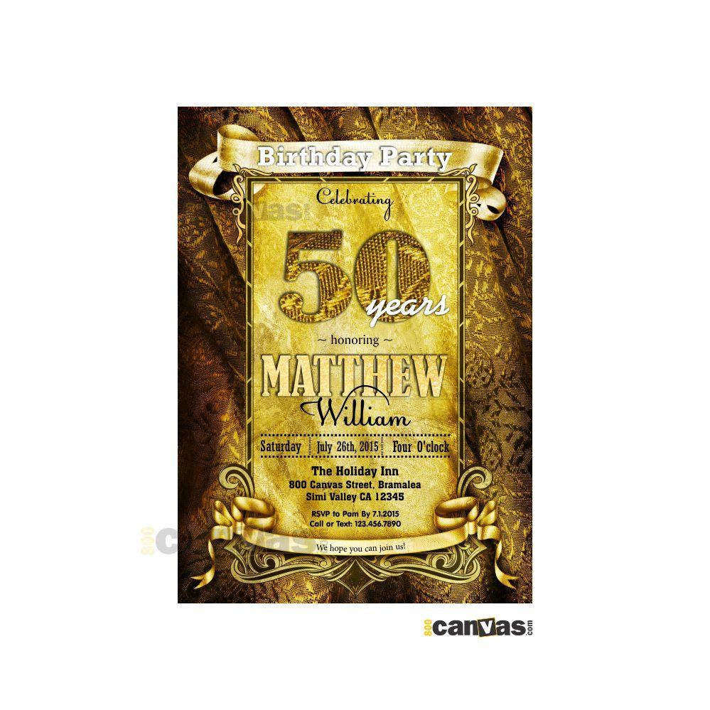 30th 40th 50th 60th 70th 80th Birthday Invitation Any Age Royal Elegant Golden Banner Rustic Shabby Vintage