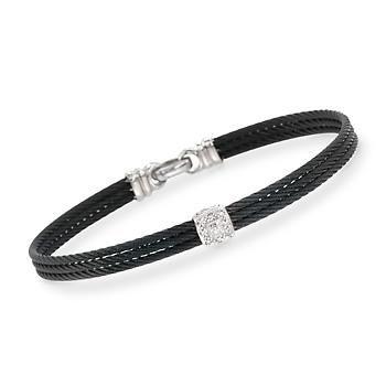 "ALOR ""Noir"" Black Cable Bracelet With Diamond Accent and 18kt White Gold. 7"""