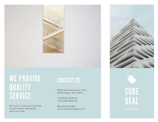 Blue and White Minimalist Real Estate Trifold Brochure Graphic - free blank tri fold brochure templates