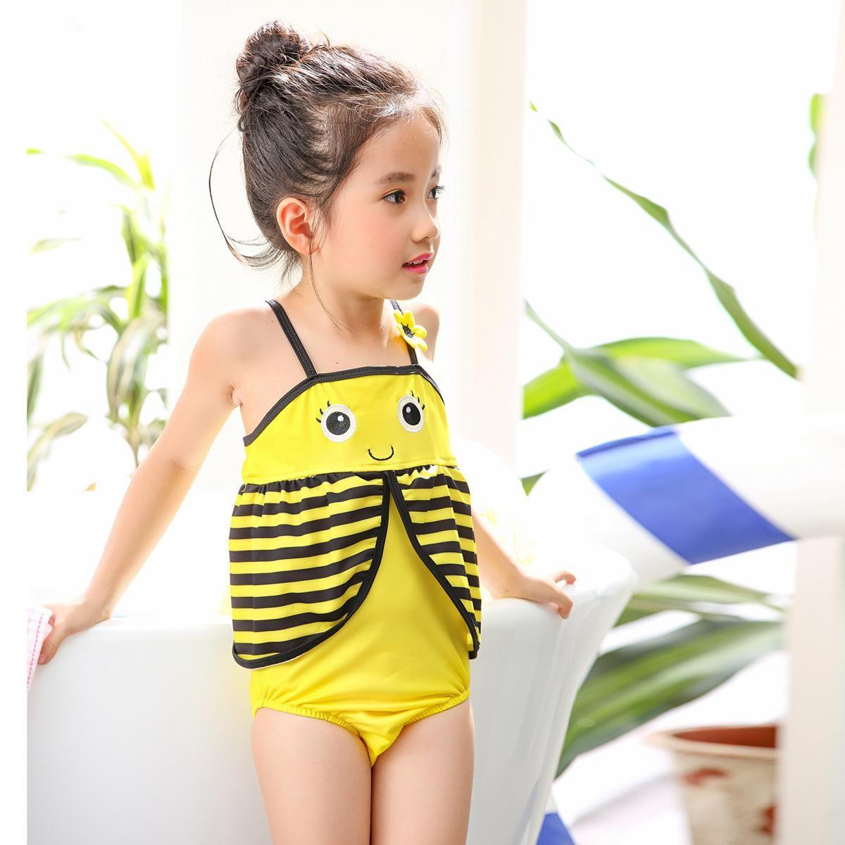 c2f234be1eb1 Children Swimwear Yellow Bee One-piece Swimsuit Girl Korean Female Baby  Child Girls 2 3 4 5 6 7 Years Old Kids Bikinis Kids Bikinis Children  Swimwear ...