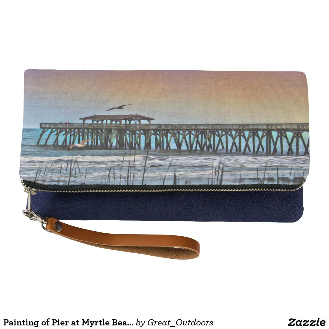 Painting of Pier at Myrtle Beach foldover clutch