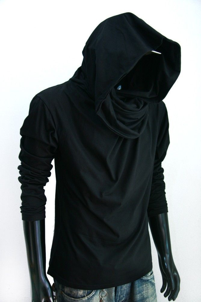 New Men long sleeve turtle cowl neck BLACK HOODIE scarf shirt top ...
