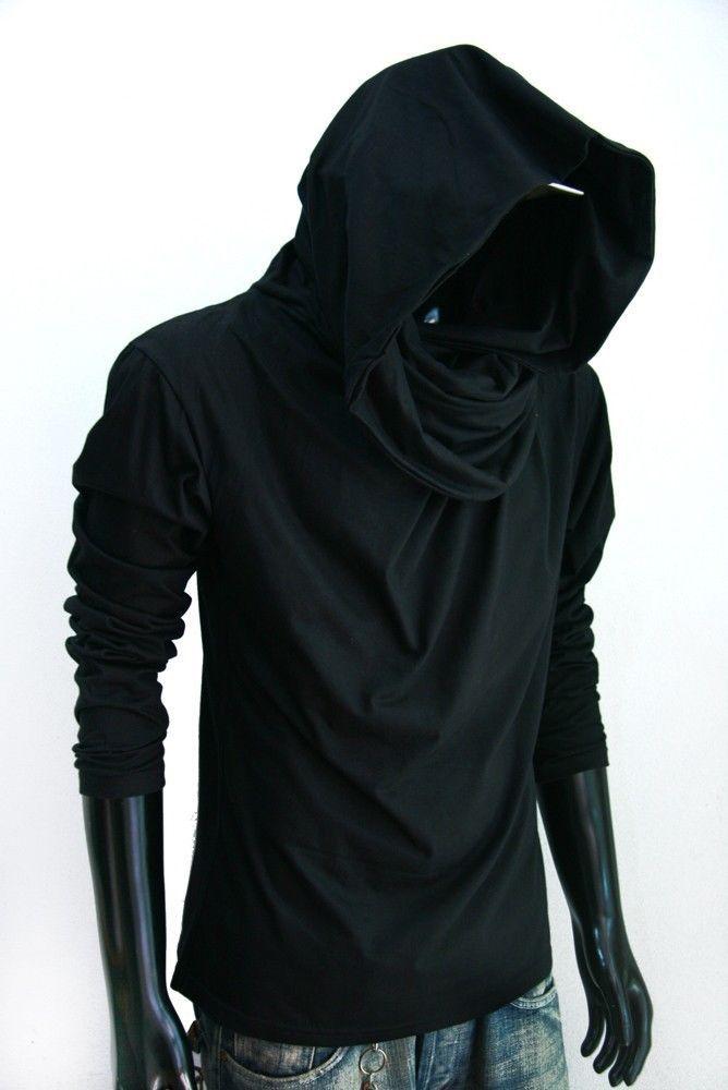 dab9003afa26 New Men long sleeve turtle cowl neck BLACK hoodie scarf shirt top S M L XL  2XL in Clothing