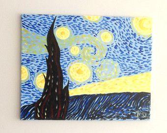 Original pintura  noche estrellada en el barrio  acrílico