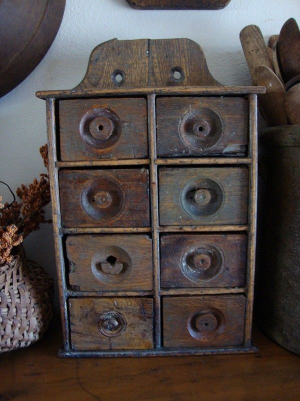 C1800's Eight-drawer wood spice cabinet.