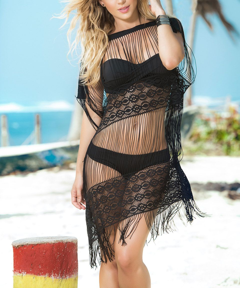 9167a28842385 This Mapalé by Espiral Black Sheer Mesh & Fringe Cover-Up by Mapalé by  Espiral is perfect! #zulilyfinds