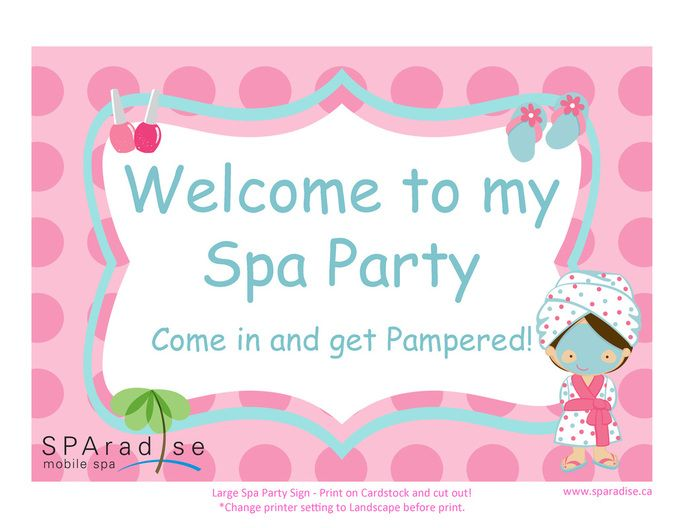 Spa Party Sign Free Printable