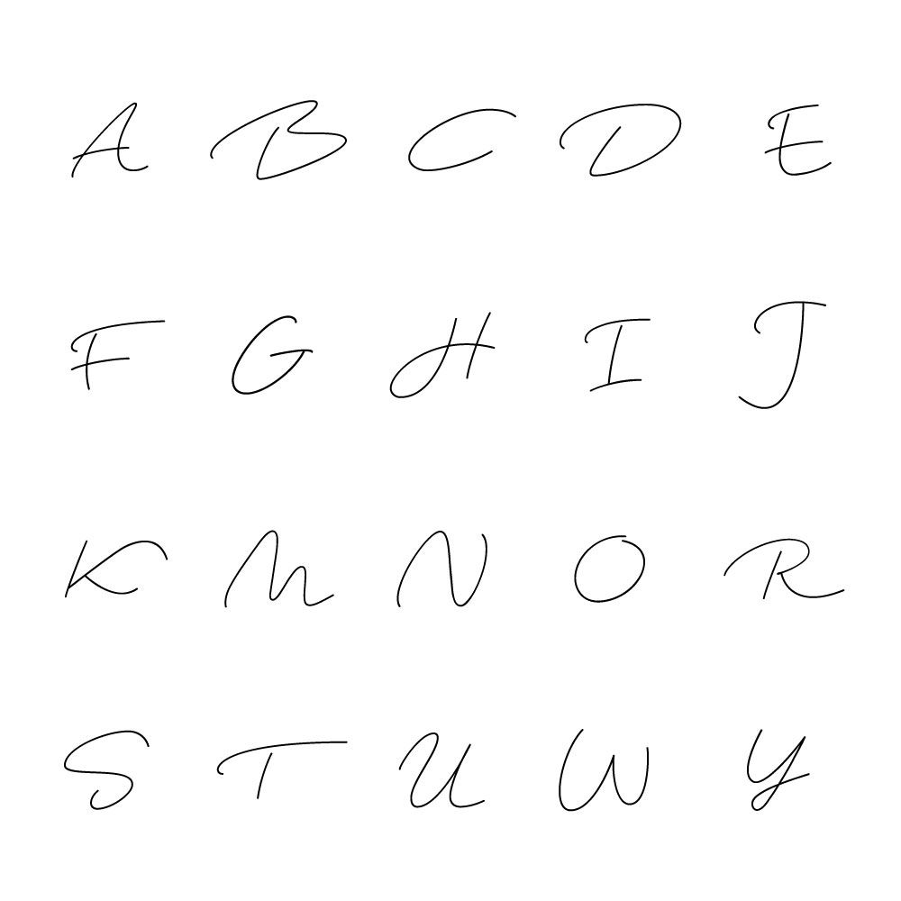 アルファベット 一例 ほどよい 抜け感 のあるスタイリッシュなフォントがポイント 席次表 Calme グリーン 可愛い字 落書きフォント アルファベット フォント