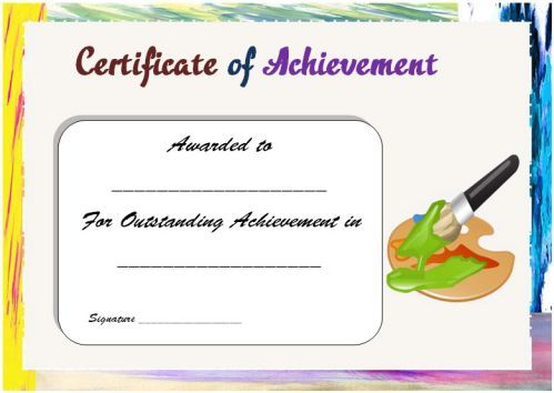 Art Achievement Certificate  Art Certificate Templates