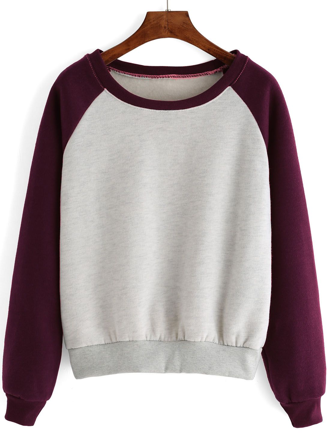Raglan Sleeve Color-block Thicken Sweatshirt 12.00