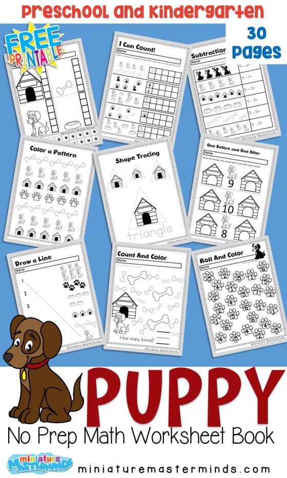 Puppy Kindergarten Math Worksheet Pack Kindergarten Math Worksheets Kindergarten Math Puppy Kindergarten