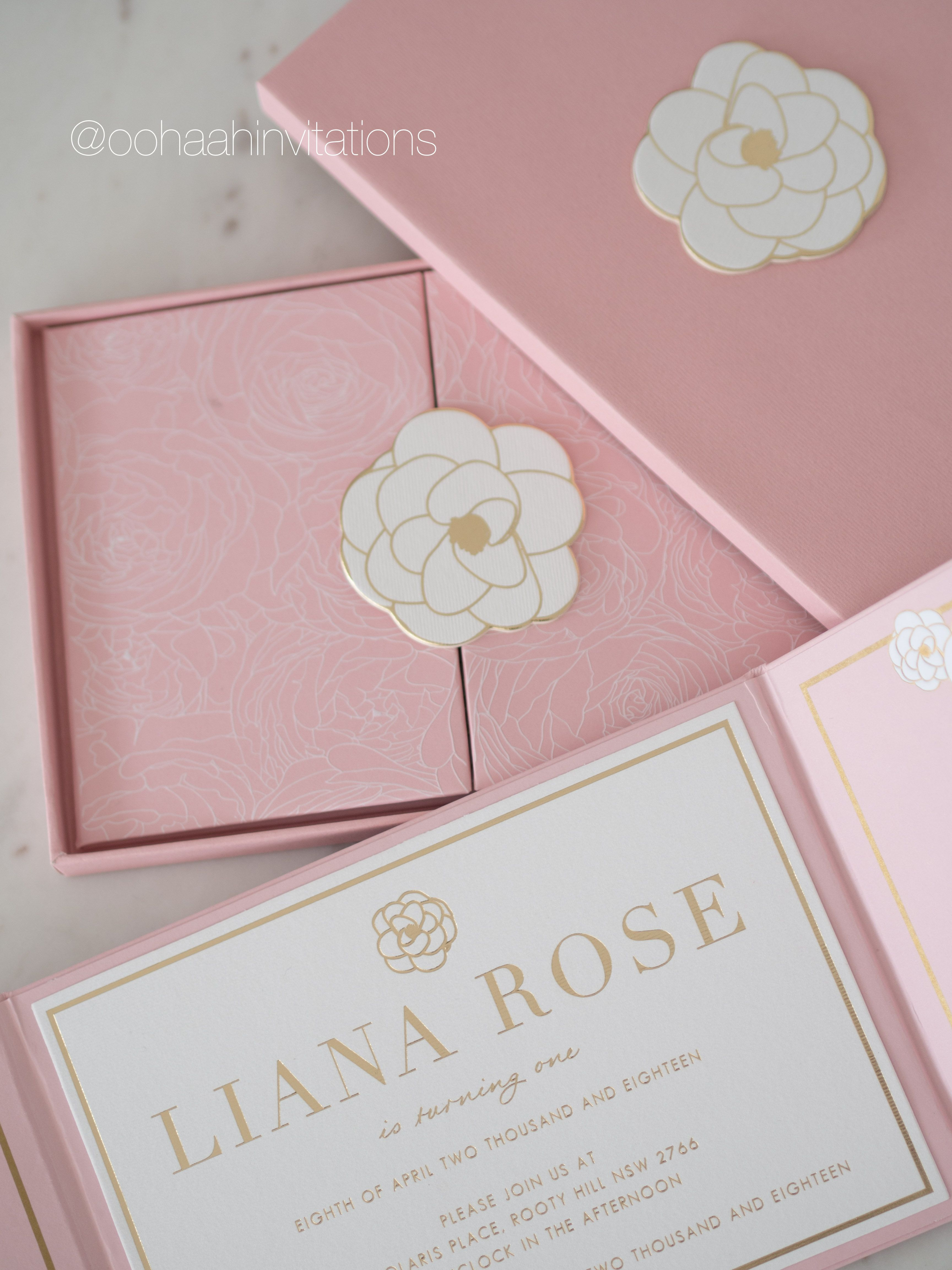 Inside the box Liana Rose turns one Our signature hardcover invitation comes with a
