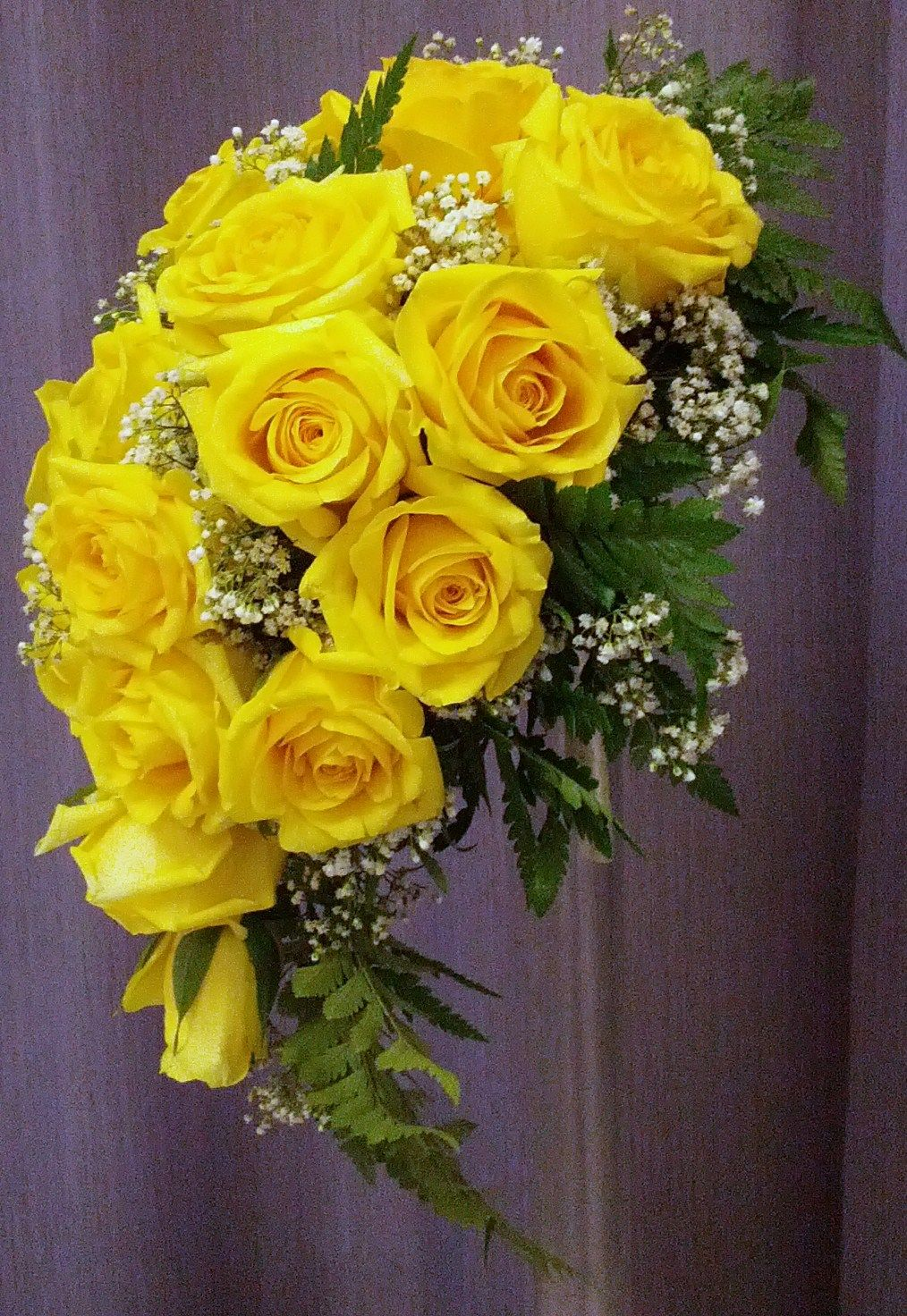 Cascade Bridal Bouquet with Yellow Roses and Baby's Breath