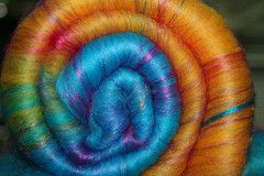 Reclaimed Sari Silk Thrums Fiber Batts: Moroccan Dream