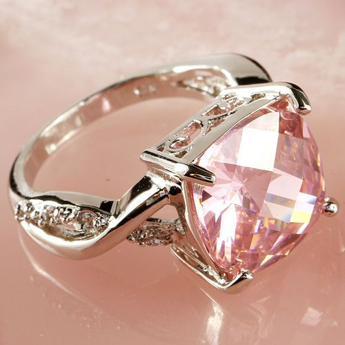 Pink-White-Gemstone-Fashion-Jewelry-Women-Gift-Silver-Ring-Size-6-7-8-9-10-11