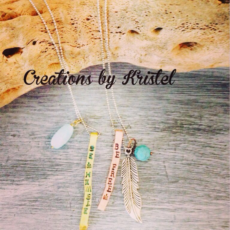 Hand stamped pendant and painted in Annie Sloan  chalk paint (Florence & graphite)