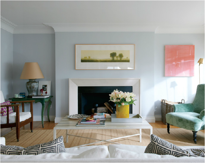 Light Blue Gray Wall Crown Molding Blue Walls Living Room