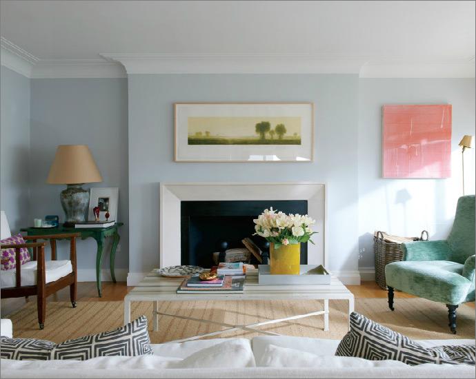 Light Blue Gray Wall Crown Molding Blue Walls Living Room