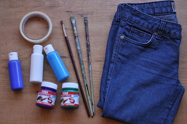color block fabric paint pants diy refashion