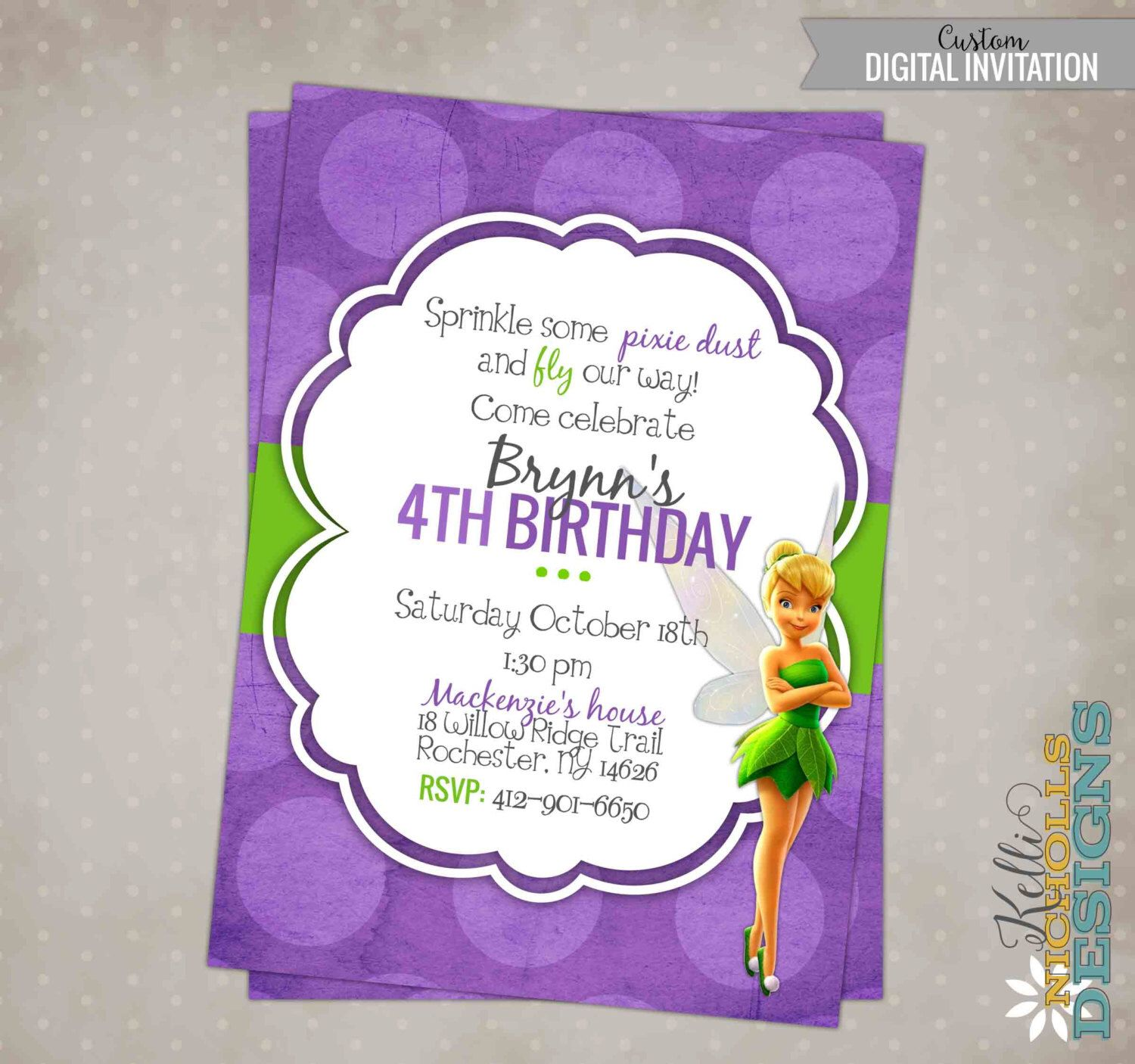 Printable tinkerbell girls birthday party invitation custom printable tinkerbell girls birthday party invitation custom digital invite b133 by kellinichollsdesigns on etsy monicamarmolfo Image collections