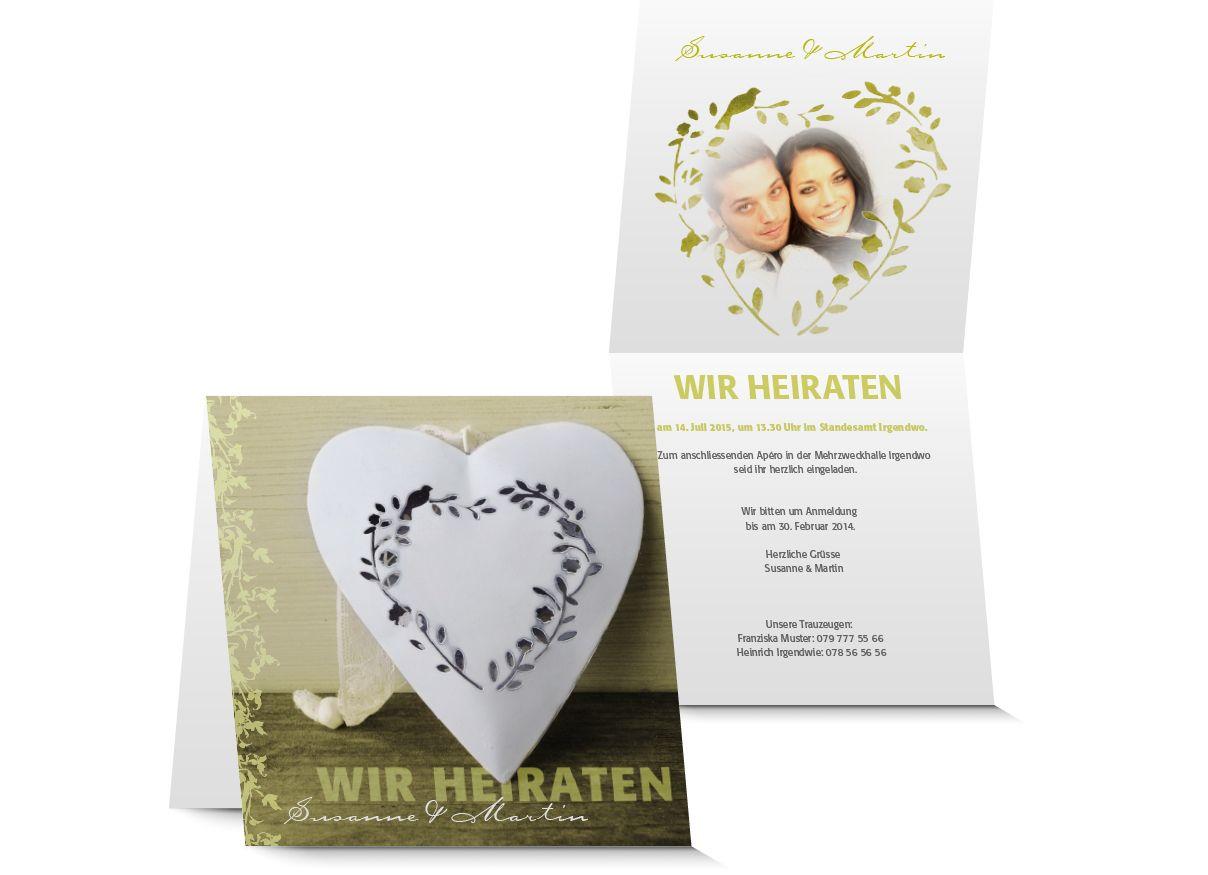 Hochzeitskarte Vintage mit silvoller Herzdeko und Ornamenten