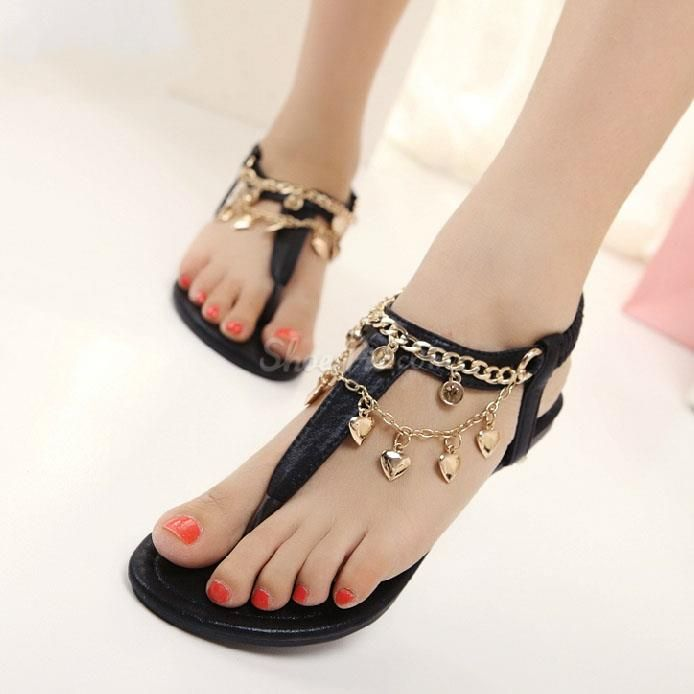 4ba0c8d37ee39d awesome Shoespie Sweet Metal Chain Flat Sandals