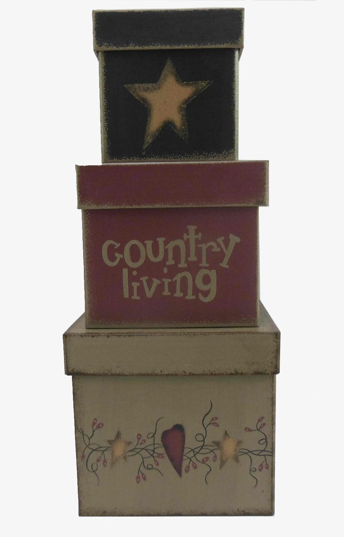 3 Piece Country Living Square Nesting Box Set In 2020 Nesting Box Patriotic Decorations Craft Outlet