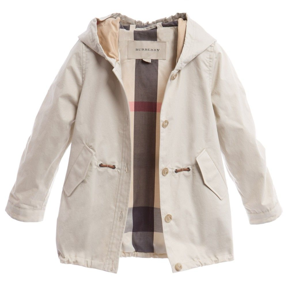 Burberry girls beige lightweight showerproof coat made from thick ...
