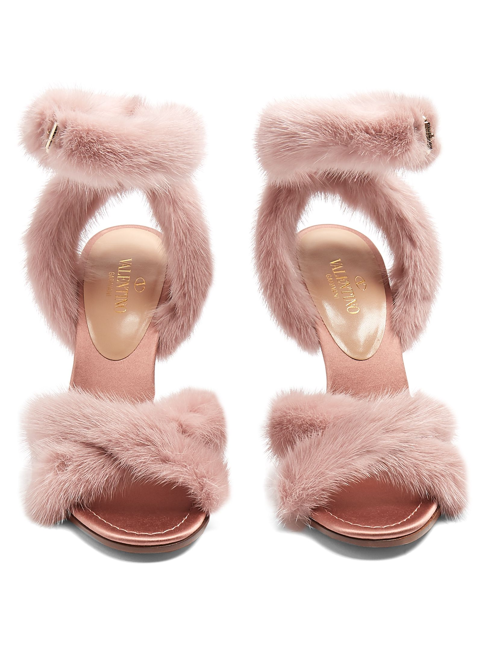 23a468bf1da5 VALENTINO Fur-trimmed 95mm sandals