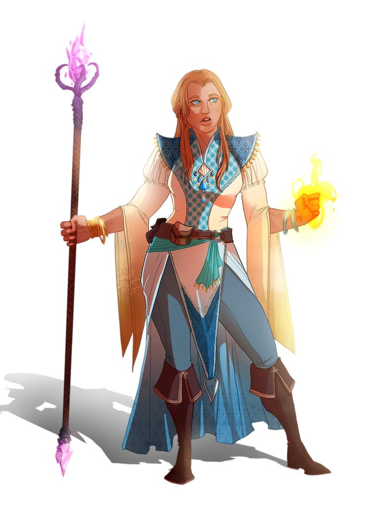 f Sorcerer Staff Female Human Pathfinder PFRPG DND D&D 3.5