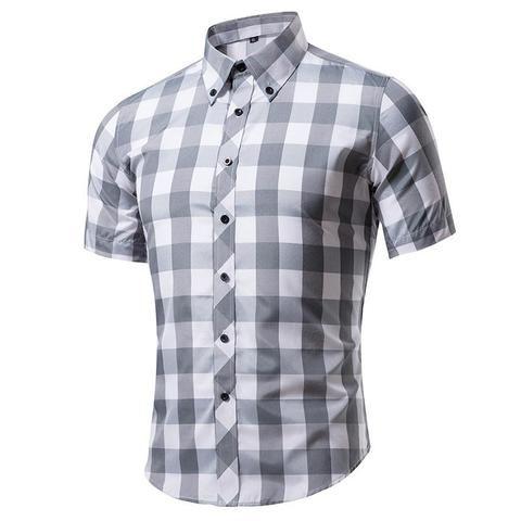 52a59a44b7e0 2017 Short Sleeve Plaid Shirt Men Slim Fit Cotton Mens Casual Shirts Social  Business Man Camisa Hombre Male Camisasta masculina