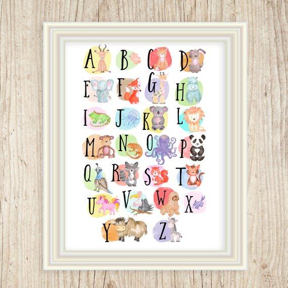 Alphabet Poster Art Print Abc Wall