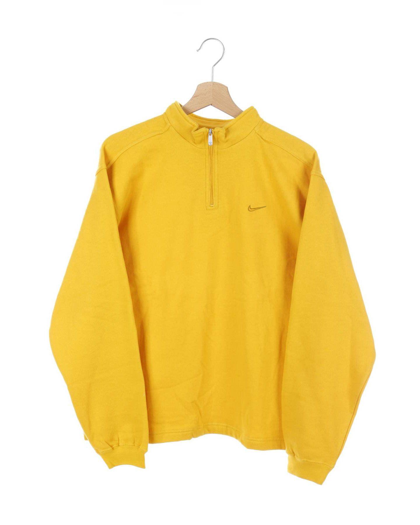 Vintage 90s Nike Small Swoosh Sweatshirt Yellow Size S Yellow Sweatshirt Sweatshirts Nike Windbreaker Jacket [ 1800 x 1440 Pixel ]
