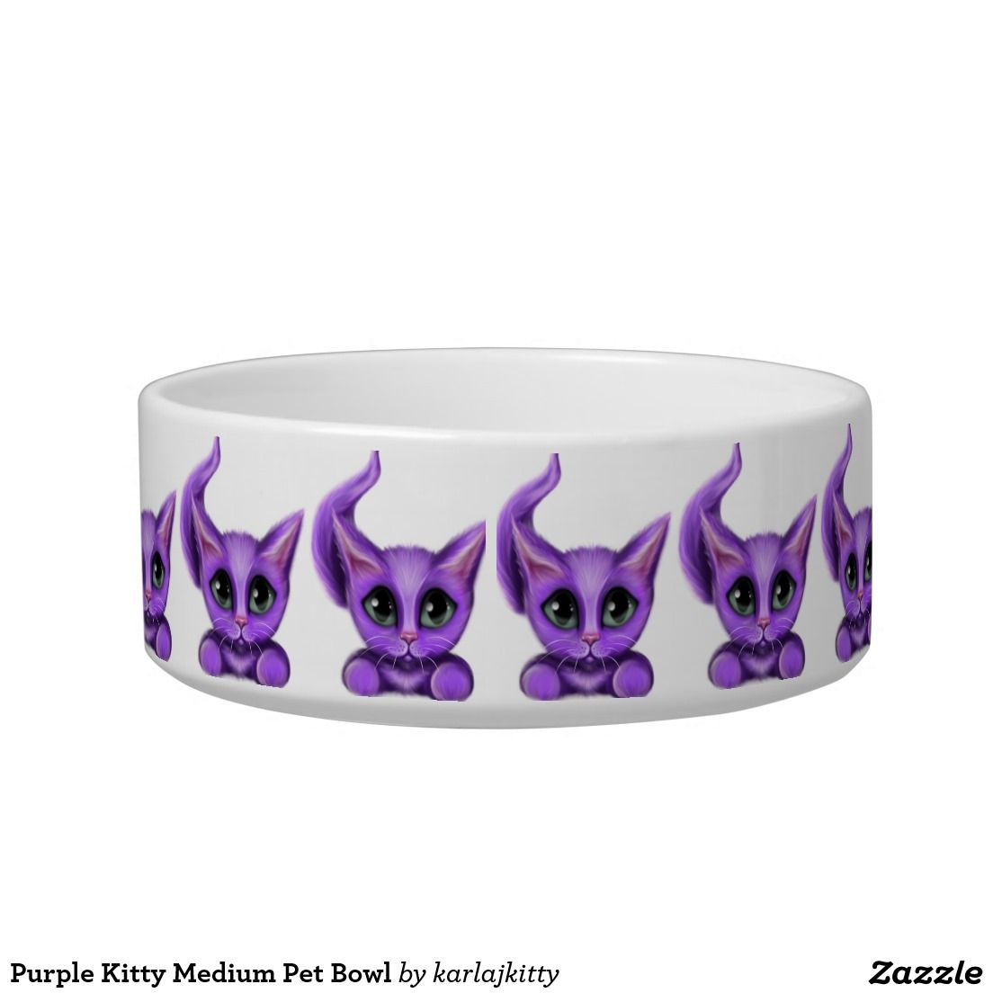Purple Kitty Medium Pet Bowl Little Purple Kitty Tiled All Around The Bowl Shown On A White Background Pet Bowls Cat Bowls Bowl