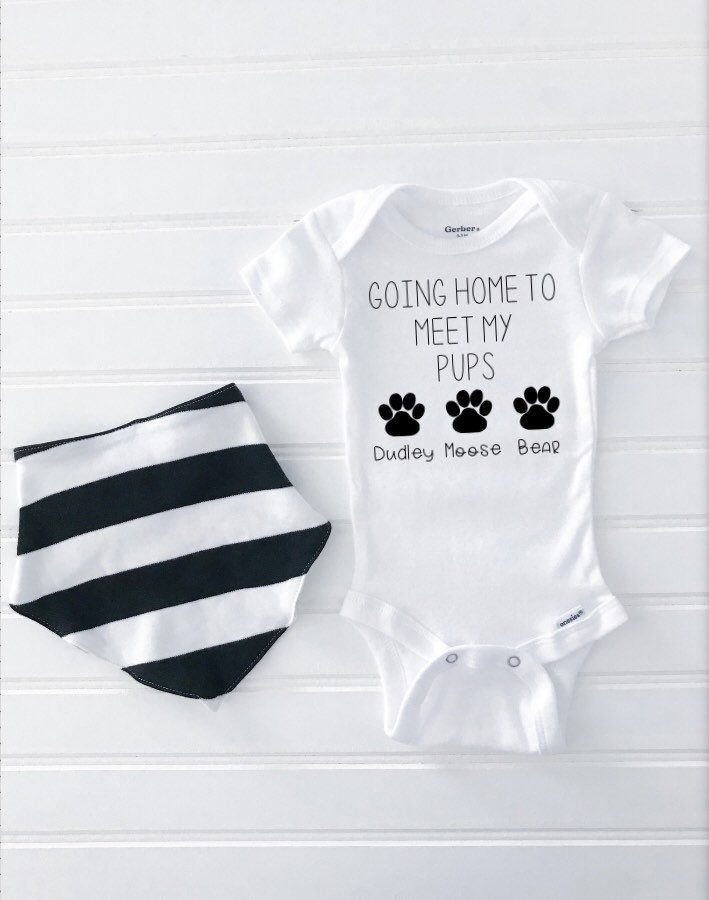 Going Home To Meet My Pups Custom Onesie®, Baby Onesie, Dog Lover, Baby Shower Gift, Dog Onesie, Going Home Outfit, Birth Announcement