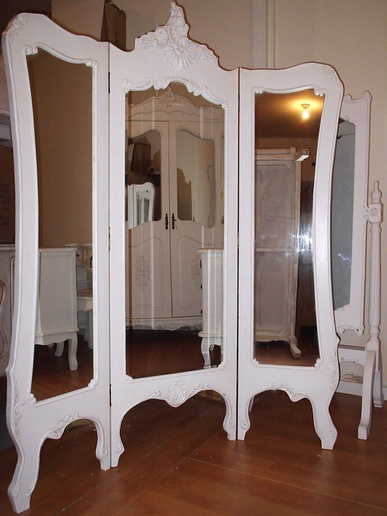 Living room decorative mirror folding panel mirror antique white distressed 3 panel mirrored room divider