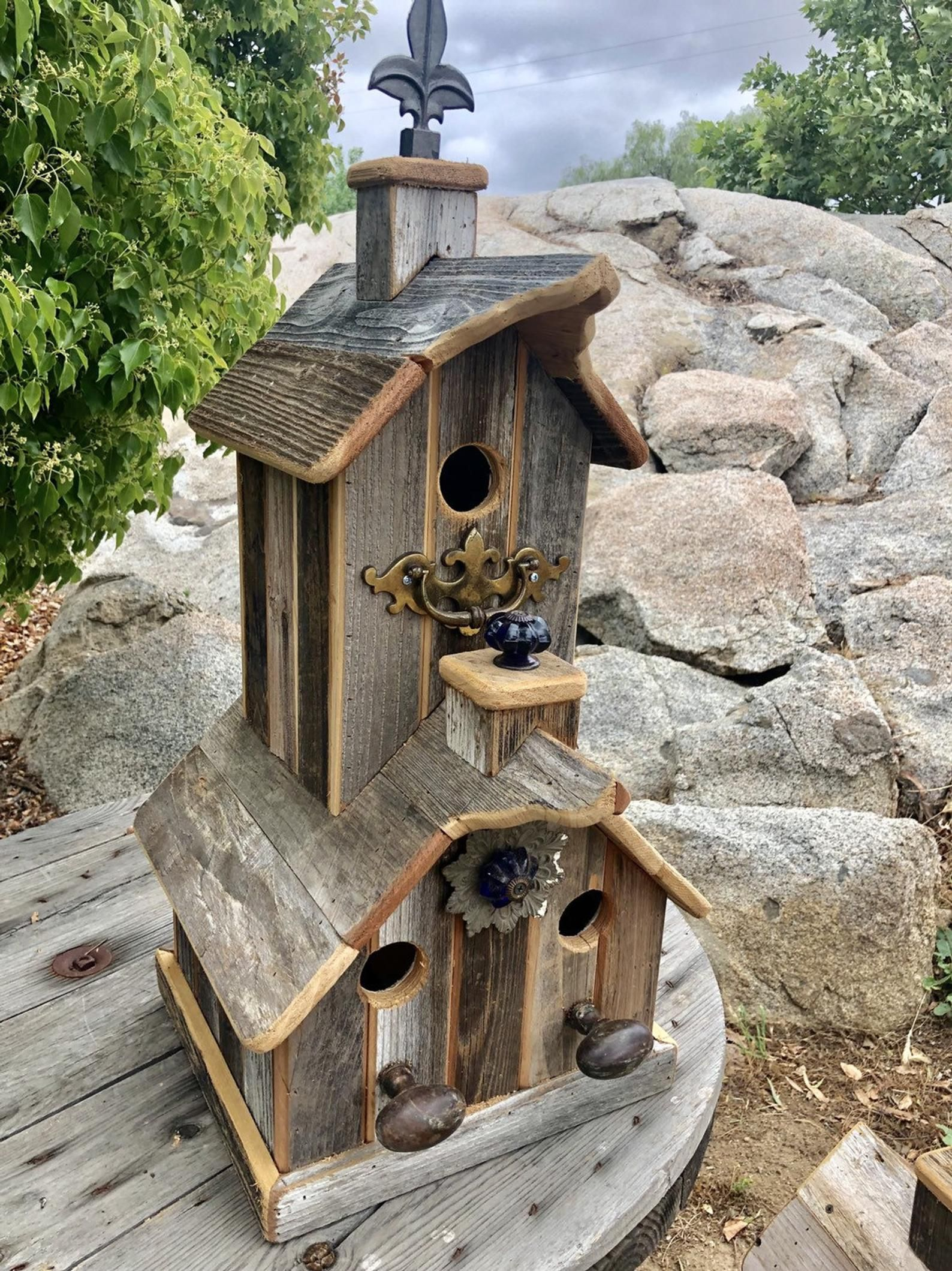 Rustic Recycled Rwo Story Birdhouse With Really Cool Wood Etsy In 2020 Unique Bird Houses Cool Bird Houses Decorative Bird Houses