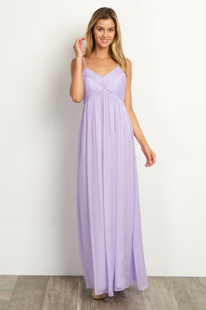 Lavender-Pleated-Bust-Chiffon-Evening-Gown