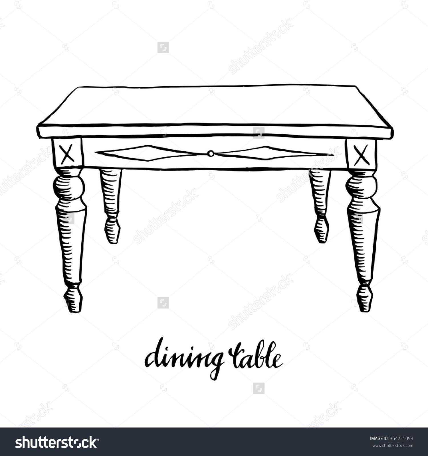 Vintage Dining Table Furniture Interior Design Elements Hand Drawn Ink Sketch Illustration