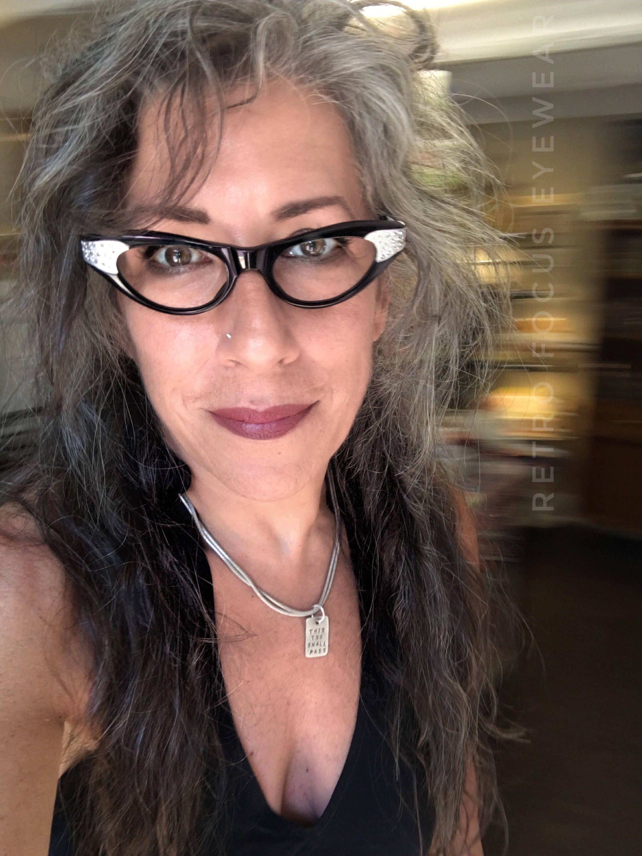 50s french nos cateye black silver rhinestone average slightly wide cat eye glasses eyewear eyeglass frames - Wide Eyeglass Frames