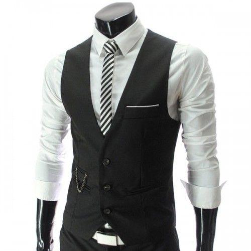 gilet veston costume homme habille fashion classe slim fit vests cardigans gilets mens. Black Bedroom Furniture Sets. Home Design Ideas