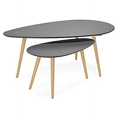 Mesas de centro diseño oval GOLDA nido de madera y roble (gris