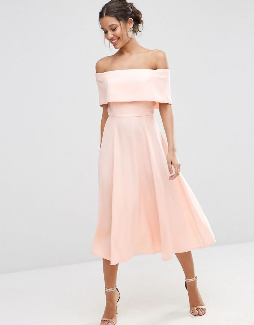 asos  asos soft off the shoulder bardot midi prom dress