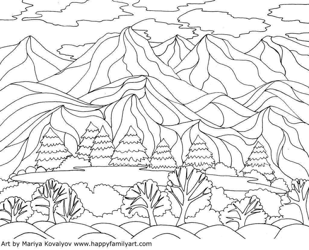 Coloring Pages Georgia OKeeffe Inspired Landscape