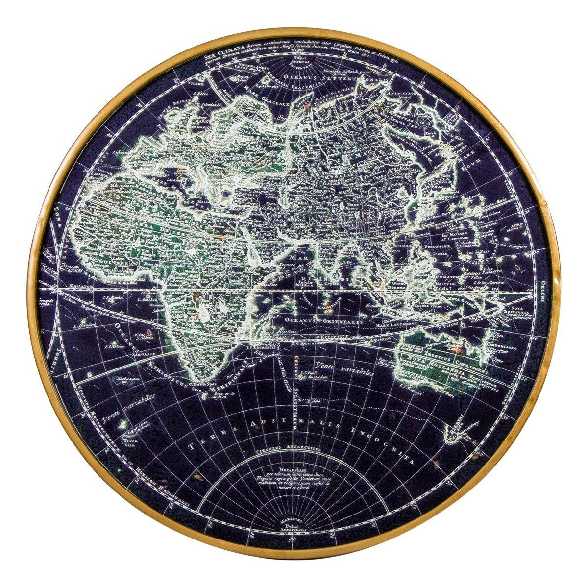 Placa Decorativa Mapa Mundi Loft