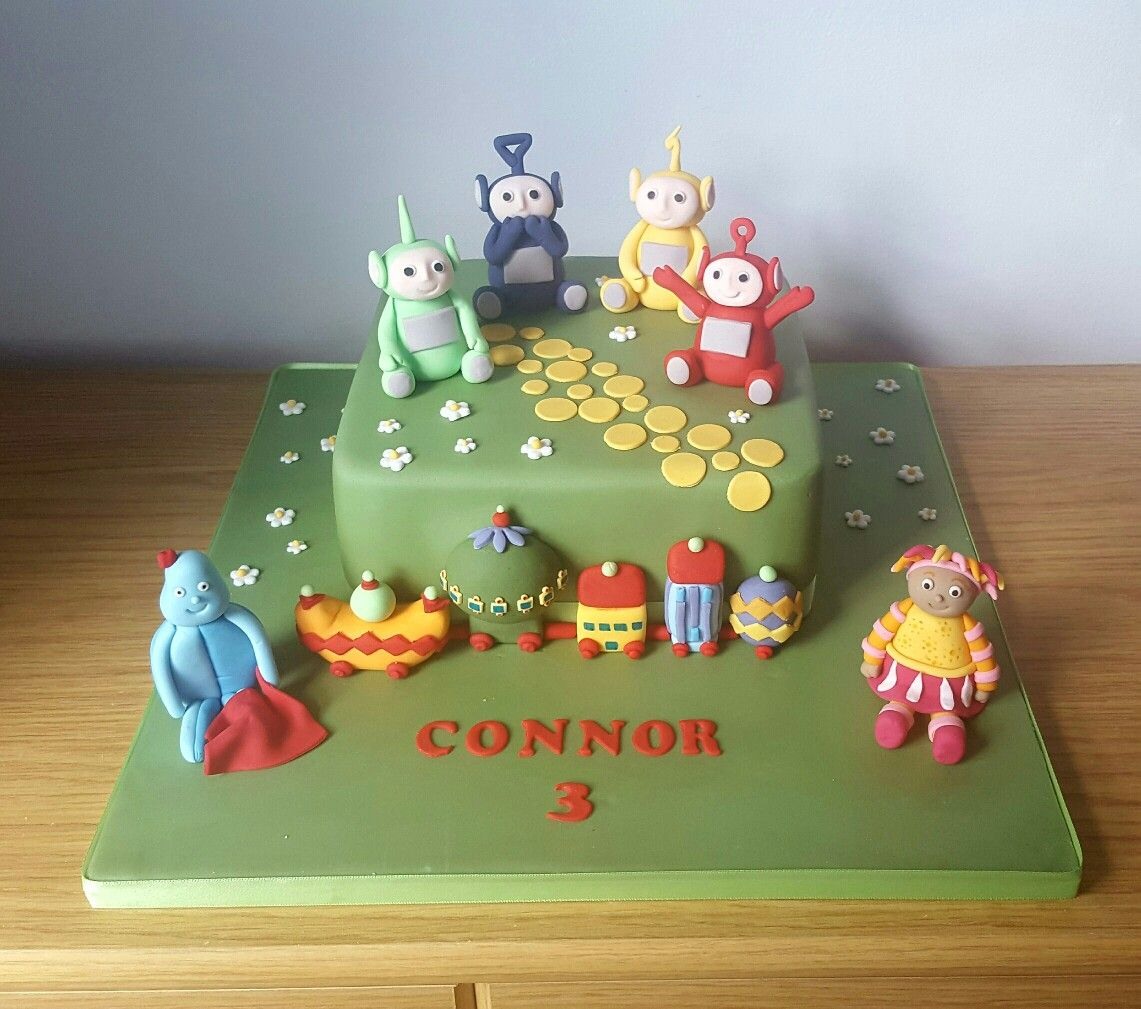 Teletubbies and In The Night Garden Cake with handmade figures ...