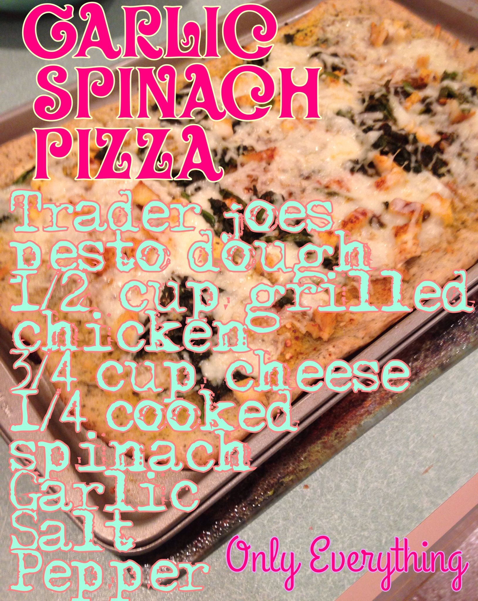 Spinach Chicken pizza  Healthy dinner