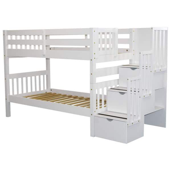 Bedz King Stairway Bunk Bed Twin Over Twin With 3 Drawers In The